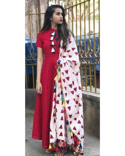 Red Tasseled Tunic With Dupatta