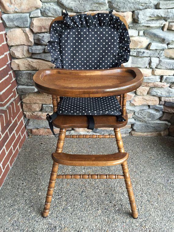 Wooden Highchair Cover: Black/White Polka Dot by CraftyNStitches