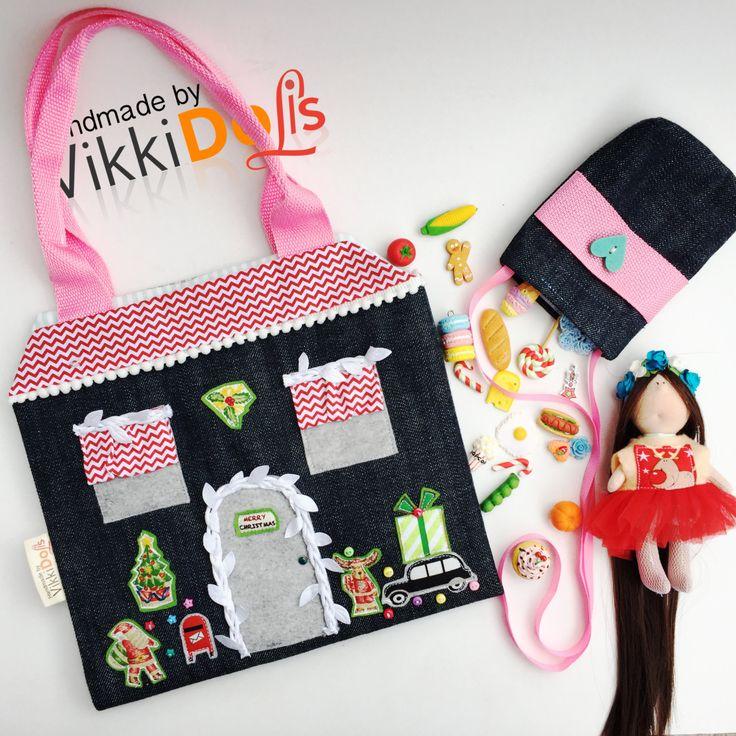 Кукольный домик, Сумочка-домик, Домик для куклы, Кухня для куклы, Подарок для девочки, Новый год, Новогодний подарок, Сумочка by VikkiDoLis on Etsy