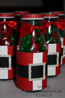 Santa Suit bottle from those Starbucks bottles and filled with yummies. Great