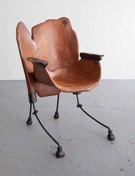 Marabantou chair in ebony and wrought iron, 2014, Babacar Niang.