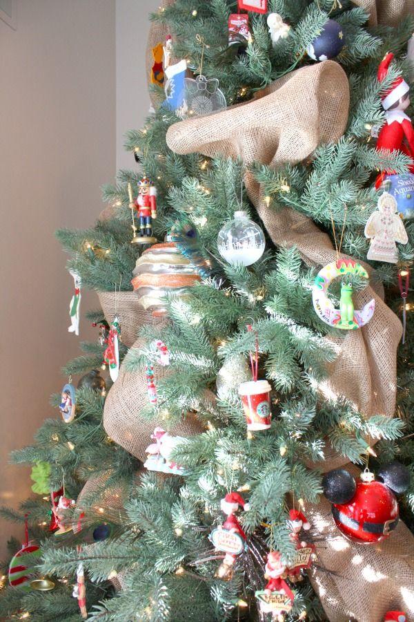 Christmas Tree with Burlap Ribbon
