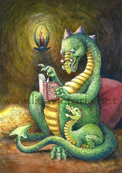 By candle light an elderly dragon reads a bedtime story. His grandson listens attentively to tales of brave young dragons and their adventures with humans.