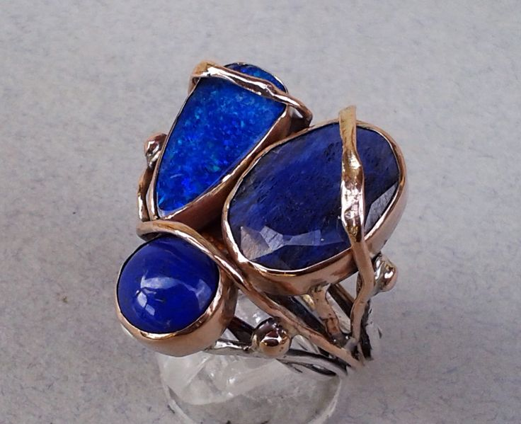 ring-silver,rose gold,blue opal,root sapphire,lapis