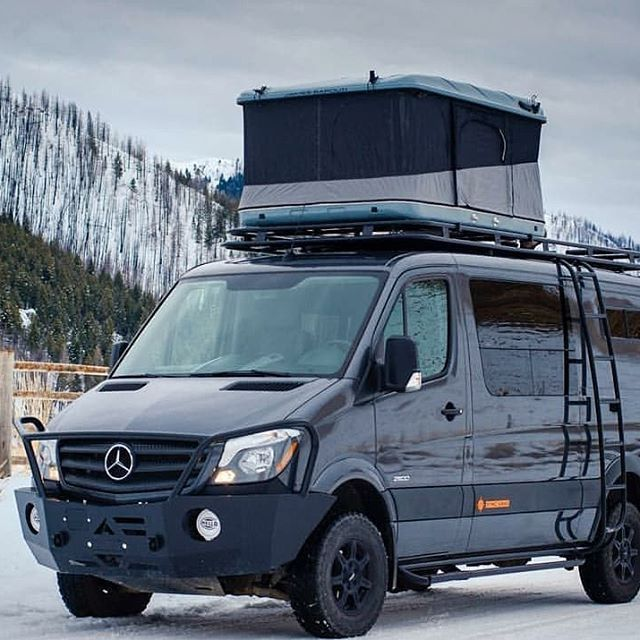 Syncvans Sprinter Van Build With Aluminess Gear And Rooftop Tent Shorty Sync Sprinter Van Roof Top Tent Sprinter