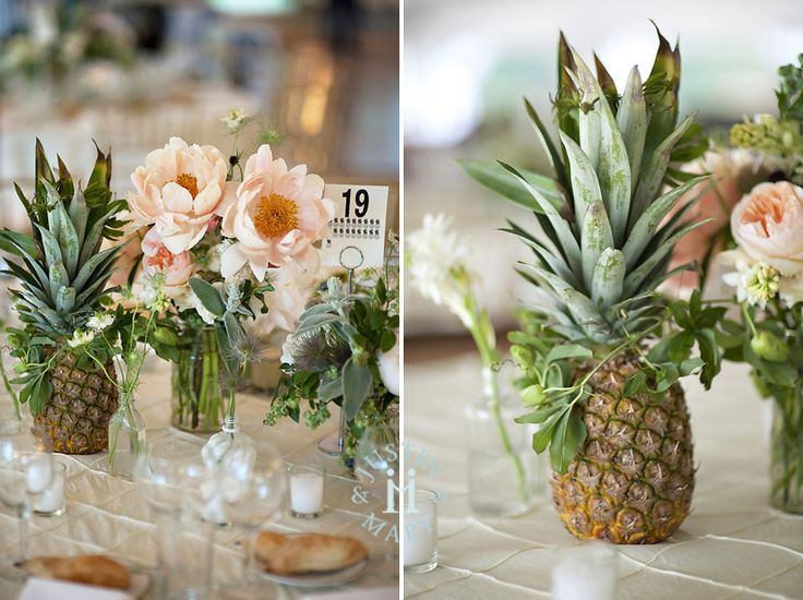 pineapple coral peony centerpieces beach wedding