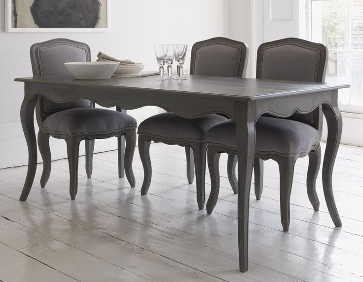 Grey Dining Room Chairs: Elegant Dining Table With Curved Legs And Attractive
