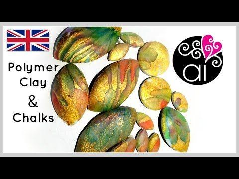 Polymer Clay Tutorial | Chalk Pastels , Cernit Translucent and Golden Leaf | ENG - YouTube