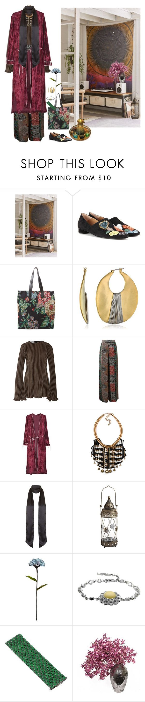 """""""Untitled #1010"""" by crooked-dollhouse ❤ liked on Polyvore featuring Urban Outfitters, The Row, Marie Turnor, Kenneth Cole, Beaufille, Oscar de la Renta, MANGO, Topshop, Pier 1 Imports and Shabby Chic"""