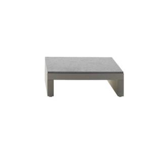 Bellini Hour - Table Basse - structure ivoire / plateau granite teinté bleu