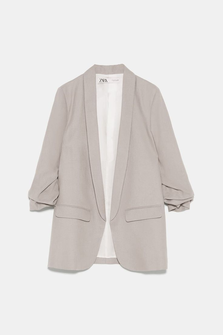 ZARA - Female - Linen blazer with pockets - Light mink - Xxl Casual Skirt Outfits, Casual Blazer, Blazer Outfits, Blazer Fashion, Modest Outfits, Blazer Dress, Dress Outfits, Blazers For Women, Coats For Women