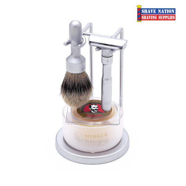 Merkur Futur Adjustable Safety Razor Set 4-Piece Brushed Satin Chrome | Shave Nation Shaving Supplies®