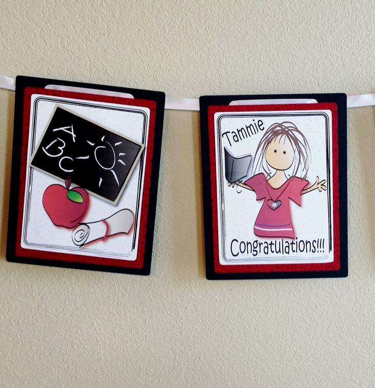 Personalized Teacher Graduation Banner - Sweet Custom Teaching Graduation Banner Education Degree Graduation Banner by ThePlaidKangaroo on Etsy