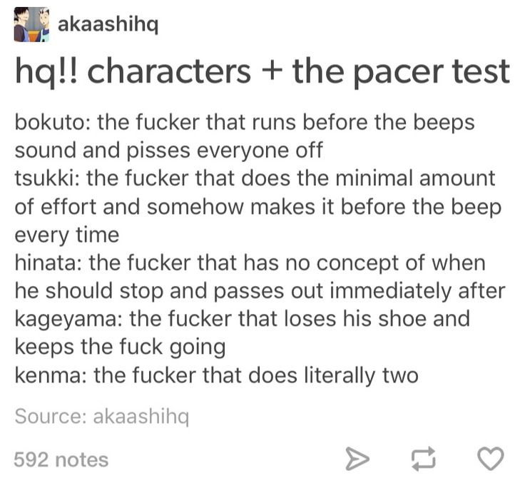 Haikyuu characters and the pacer test