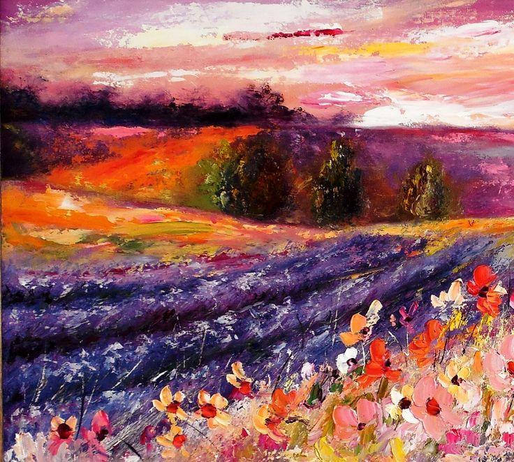 obraz olejny, pejzaż lawenda , prowansja, lawendowe pola, kwiaty,
