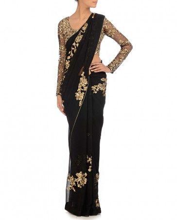 Black Sequined Sari Citrus by Shibani