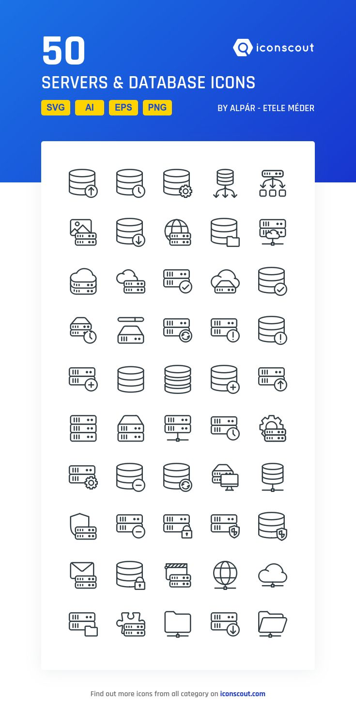 Servers & Database  Icon Pack - 50 Pixel Perfect Icons