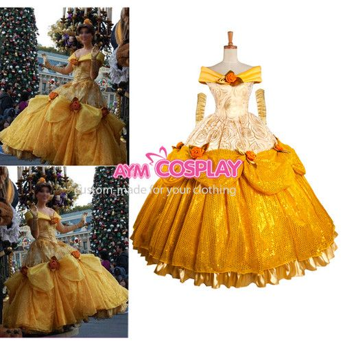 Disney Belle Princess Beauty and The Beast Dress Movie Costume Cosplay G1077 | eBay