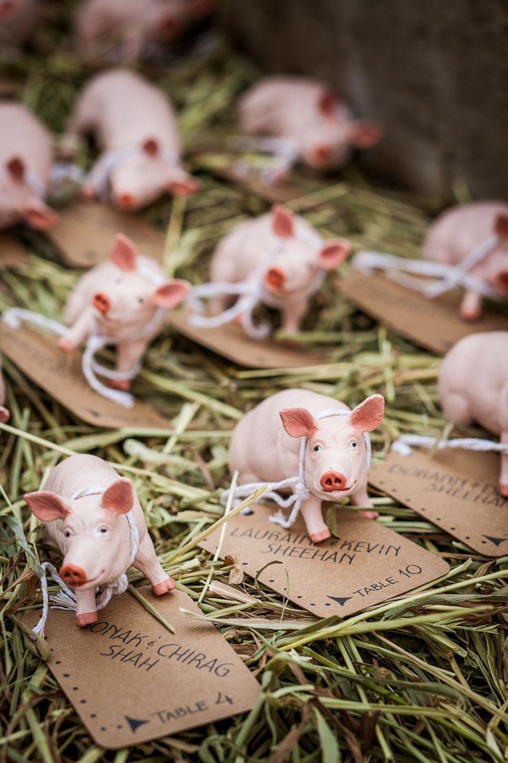 Cute pig adorned escort cards