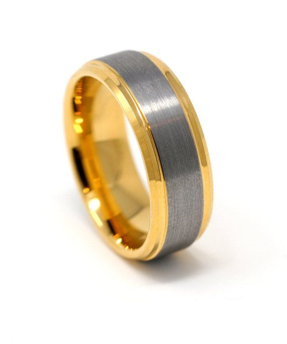 Gold And Silver Tungsten Mens Wedding Band Brushed Inlay Etsy Silver Tungsten Mens Wedding Bands Tungsten Tungsten Mens Rings