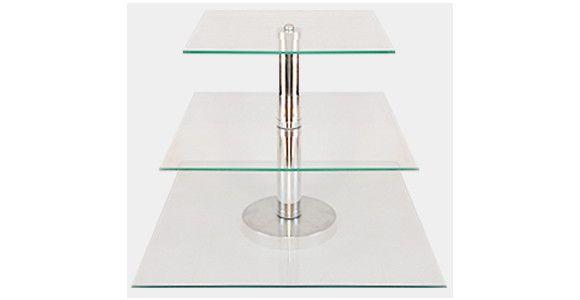 Boleira de Vidro 3 Andares - <br> <br> <br>Suporte para bolo em vidro 4mm interligadas com tubos de alumínio. <br> <br>Ideal para servir Brigadeiros, Beijinhos, Cupcakes, Canapés, Bolos ou que você imaginar. Vai dar um toque especial a sua mesa. <br> <br> <br> <br>Dimensões do Produto: <br> <br> <br>TAMANHO <br>Prato 1 = 28 x 28 cm <br>Prato 2 = 36 x 36 cm <br>Prato 3 = 40 x 40 cm <br> <br>Altura Total da Peça = 32cm <br> <br> <br> <br>PRAZO DE ENTREGA: EM ATÉ 4 DIAS PARA PRODUÇÃO,MAIS O…