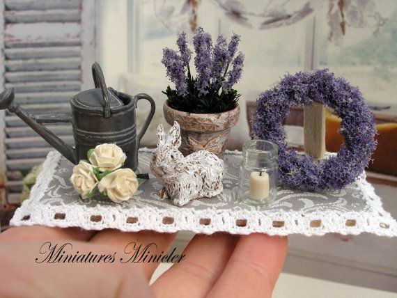 Miniature Dollhouse Lavender Decoration Set Board by Minicler