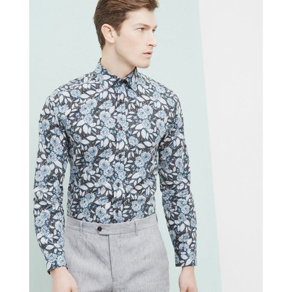 Ted Baker Floral paisley cotton shirt (€210) ❤ liked on Polyvore featuring men's fashion, men's clothing, men's shirts, men's casual shirts, men's flower print shirt, mens paisley shirt, mens floral shirts, mens floral print shirts and ted baker mens shirts
