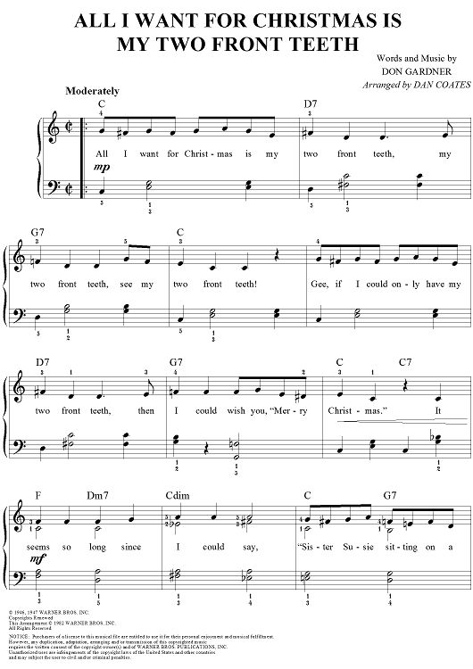 All I Want For Christmas Is My Two Front Teeth Sheet Music: www.onlinesheetmusic.com