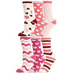 Valentine's Day Fuzzy Love Socks,hearts Print,6 Pairs,size 9-11.