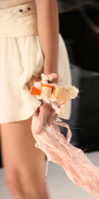 Resin Tubes Arm Cuff by Gem Lettuce accossorising the SS12 Uscari collection at Australian Fashion Week 2012.  http://gemlettuce.tumblr.com/ www.gemlettuce.com
