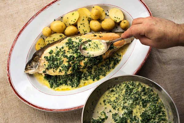 ++ Arctic Char (or trout) with Spinach Butter by Darina Allen, who runs the Ballymaloe Cooking School | nyt