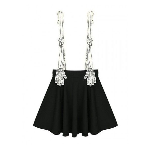 Black Contrast Skeleton Hand Shoulder Strap Pleat Overall Skirt (2.170 RUB) ❤ liked on Polyvore featuring skirts, pleated skirt and knee length pleated skirt