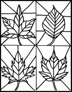 vorlage zum ausdrucken und ausmalen - herbstblätter für glasmalerei   glasmalerei