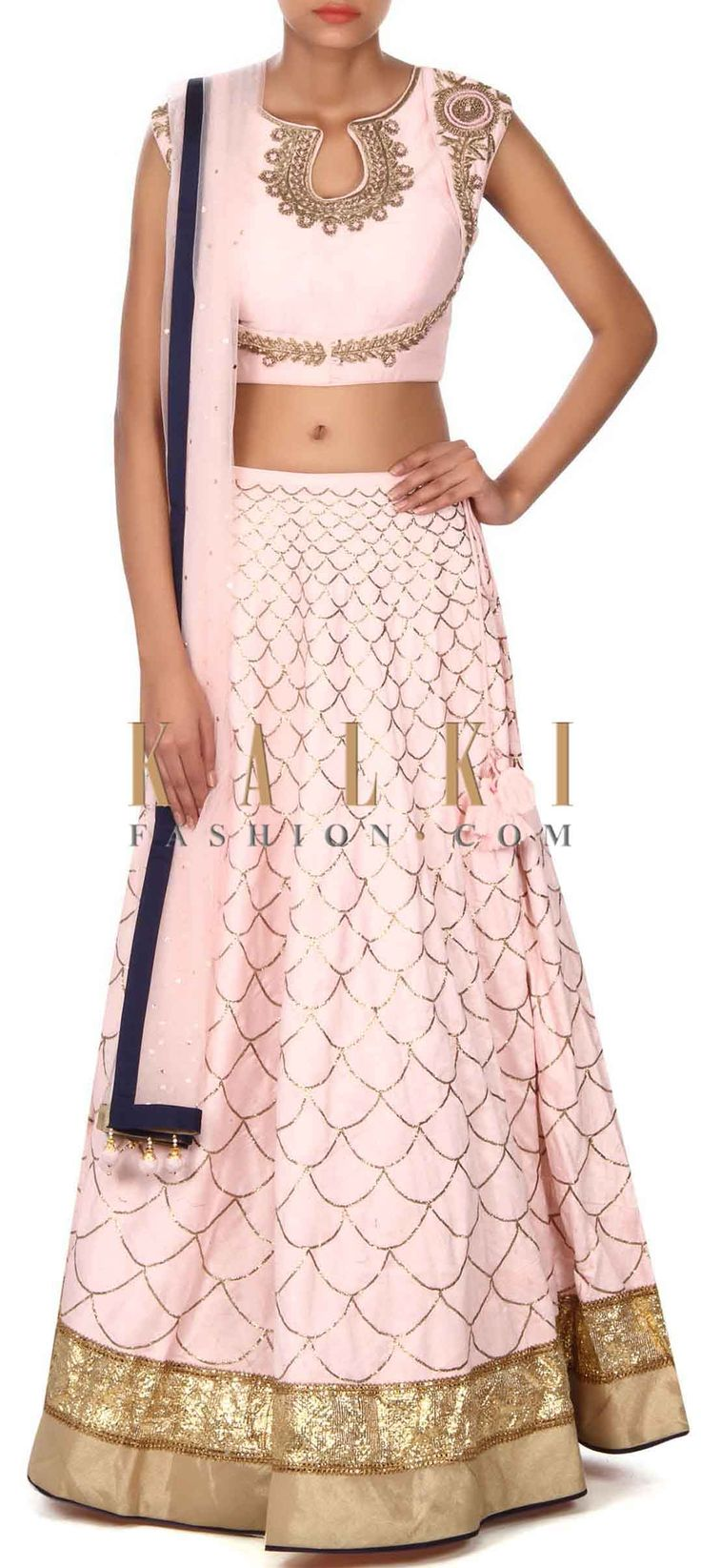 Buy this Pink lehenga adorn in zardosi embroidery and zari only on Kalki