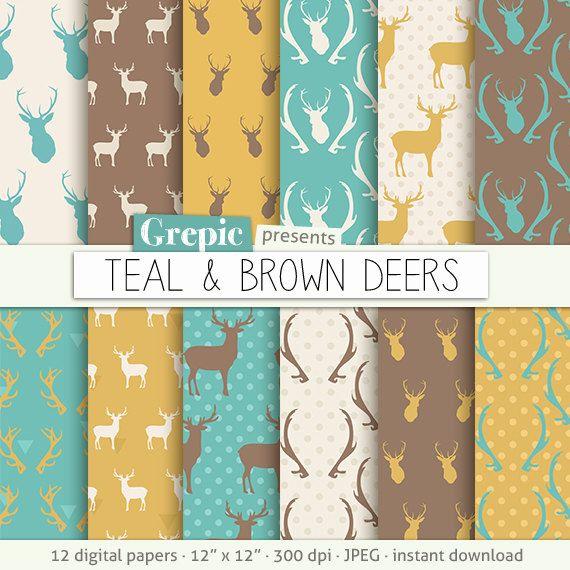 Deer digital paper: TEAL & BROWN DEERS with woodland by Grepic