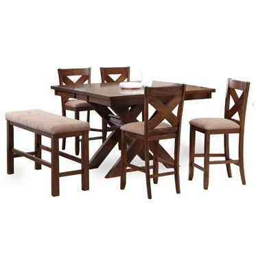 pc karven solid wood counter height dining set table w 4 stools 1