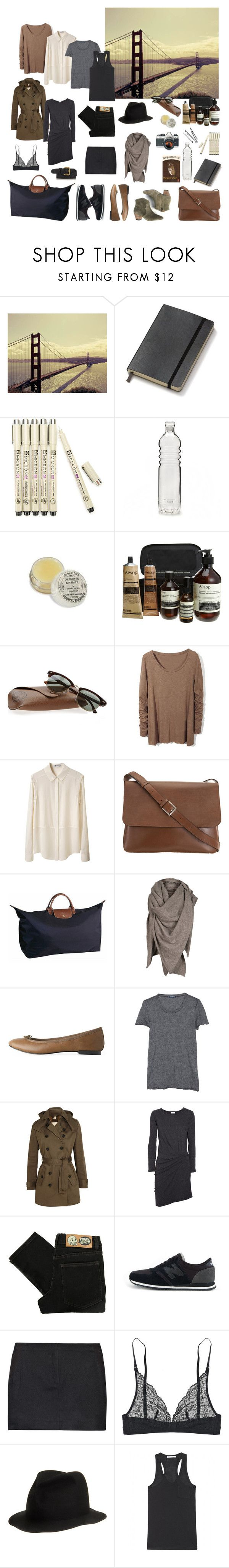 """""""Packing for San Francisco"""" by coffeestainedcashmere ❤ liked on Polyvore featuring Moleskine, Nikon, Aesop, Ray-Ban, T By Alexander Wang, Valextra, Longchamp, AllSaints, Repetto and Petit Bateau"""