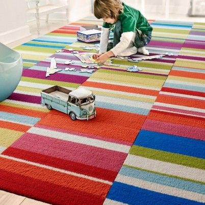 Colorful carpet tiles for a playroom