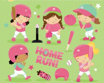 Softball Baseball Girls imágenes prediseñadas