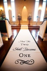 Completely customizable aisle runner that is guaranteed to be non slip... Love this!!!   http://www.originalrunners.com/index.htm