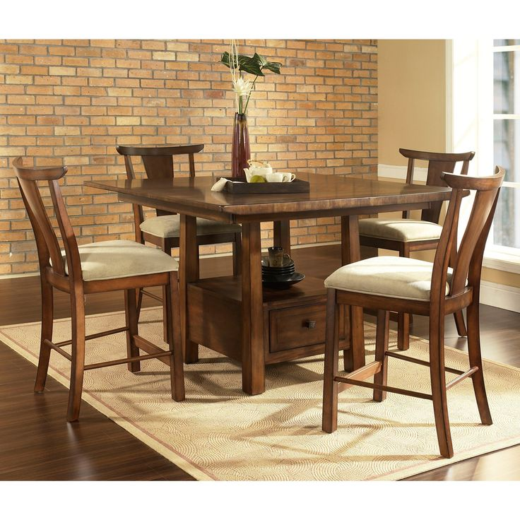 Somerton Dwelling Dakota Warm Brown Contemporary Asian 5-piece Dining Set | Overstock™ Shopping - Big Discounts on Dining Sets