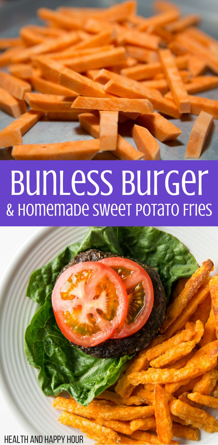 Burgers and fries get a bad rap for being unhealthy, bar food, but this recipe is delicious and very healthy! It's a great option for all of you gluten-free eaters. http://healthandhappyhour.com/bunless-burger-homemade-sweet-potato-fries/