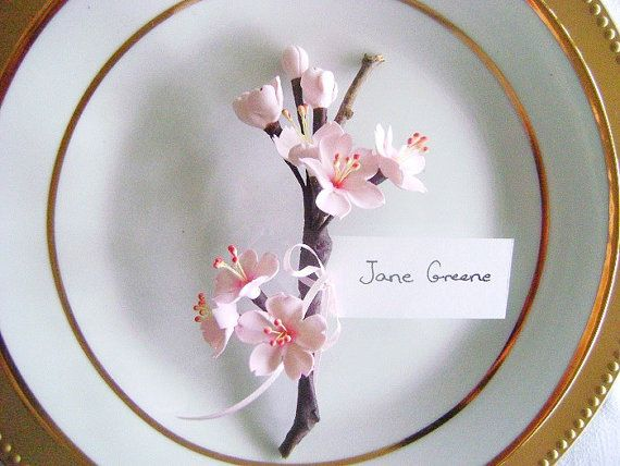 Cherry Blossoms Wedding Favor Place Card Holder Escort by parsi