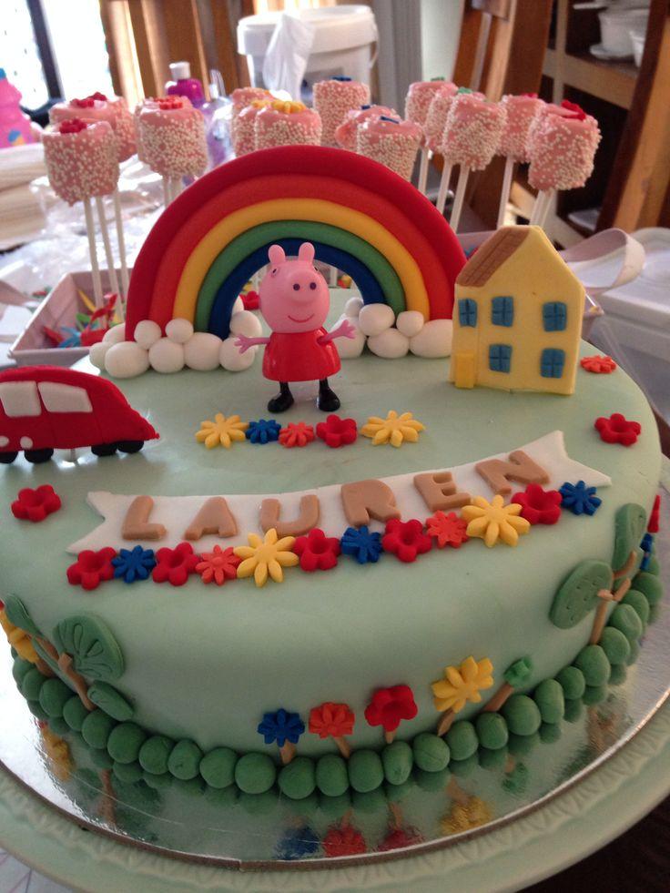 Peppa pig cake rainbow theme