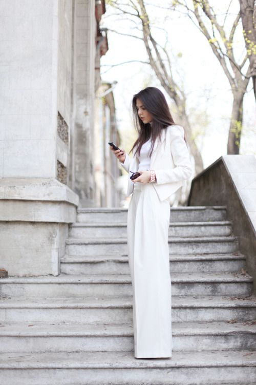 : Women Fashion, All White, Inspiration, Clothing, Pants, Street Style, White Outfits, Styles, White Suits