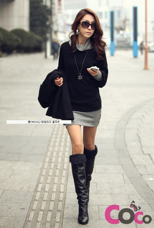 Black long sleeves fall winter collection korean fashion dress fashion pinterest winter Korean fashion style shoes
