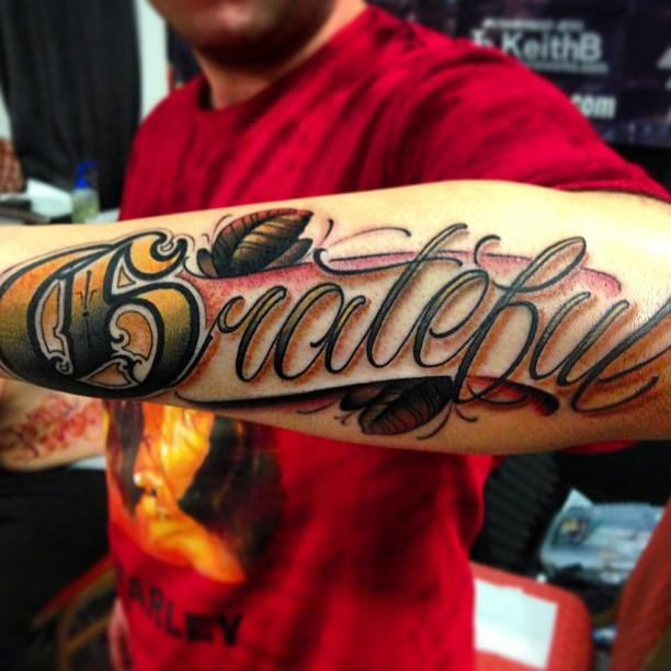 Big Meas (Justin Wilson) Tattoo | 'Grateful' | 字 ...