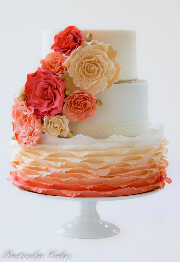 34 Delicate Ombre Wedding Cake Ideas from Pinterest | http://www.deerpearlflowers.com/delicate-ombre-wedding-cake-ideas/
