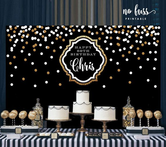 Black and Gold Backdrop Adults Party Banner by NoFussPrintable                                                                                                                                                                                 More