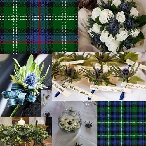 Traditional Scottish blue and green tartan wedding.